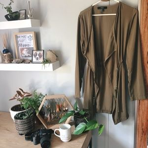 Forever21 Pull Waist Open Front Olive Green Jacket